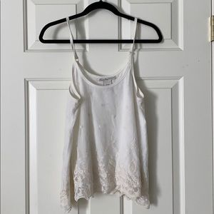 White lace layered tank top